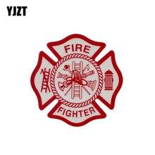 YJZT 14 см* 14 см Предупреждение пожарного Забавный наклейка ПВХ автомобиля Стикеры 12-0462