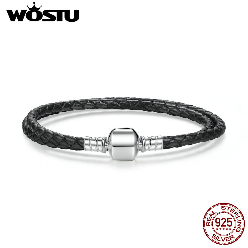 100% 925 Sterling Silver & Two Circle Genuine Black Leather Rope Chain <font><b>Charm</b></font> Fit <font><b>Pan</b></font> <font><b>Bracelet</b></font> For Women Men Fine Jewelry image