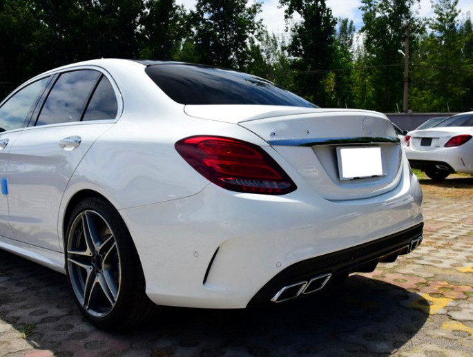 For Benz C class <font><b>W205</b></font> <font><b>Spoiler</b></font> c63 C180 C200L C300L 2014-2019 High Quality ABS Material Car Rear Wing Primer Color Rear <font><b>Spoiler</b></font> image