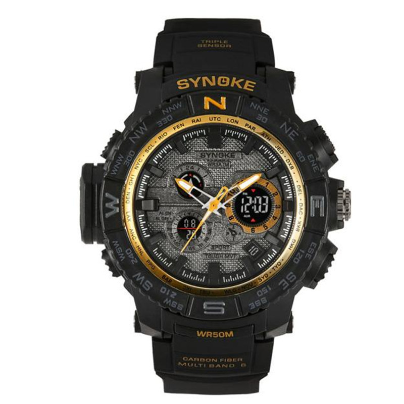 Synoke Men Multi Function Glow Digital LED Quartz Sports Watches Waterproof Big Dial Silicone Rubber Military