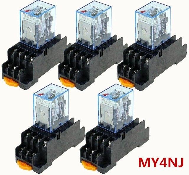 5 יחידות ממסר MY4NJ 220/240 v AC קטן ממסר 5A 14PIN סליל DPDT עם שקע בסיס