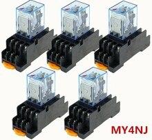 5 adet Röle MY4NJ 220/240 V AC Küçük röle 5A 14PIN Bobin DPDT Soket Tabanı Ile