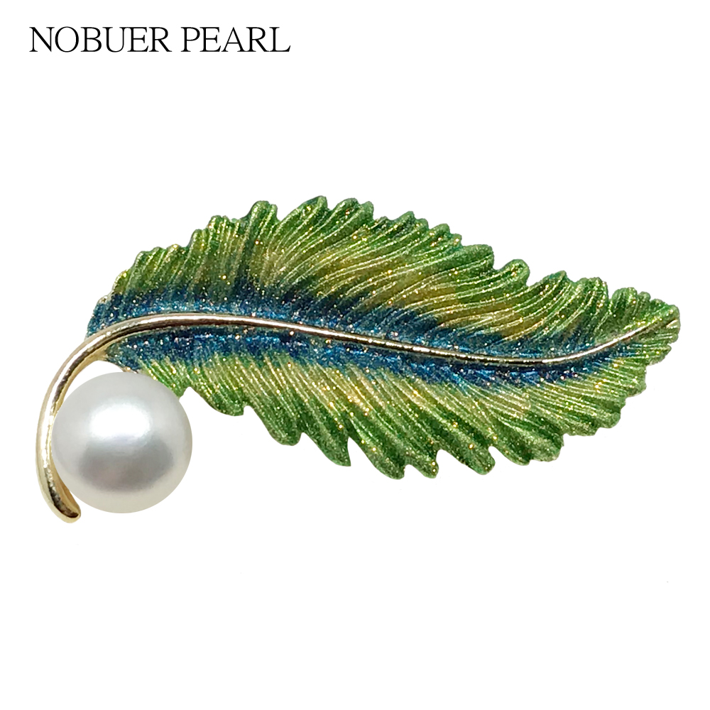Nobuer Trendy Feather Type Brooches For Women With Real  Pearls Brooch Alloy Materials Badges As Fashion Gifts