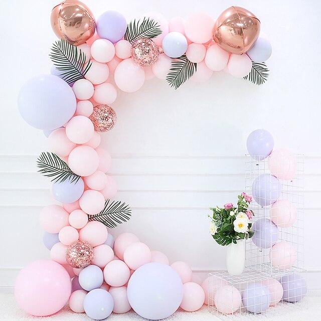 100 ชิ้น/เซ็ต Macaron สีชมพูบอลลูน Arch Garland Rose Gold 4D บอลลูน Baby Shower Birthday PARTY ฉากหลัง Decor Confetti ลูก