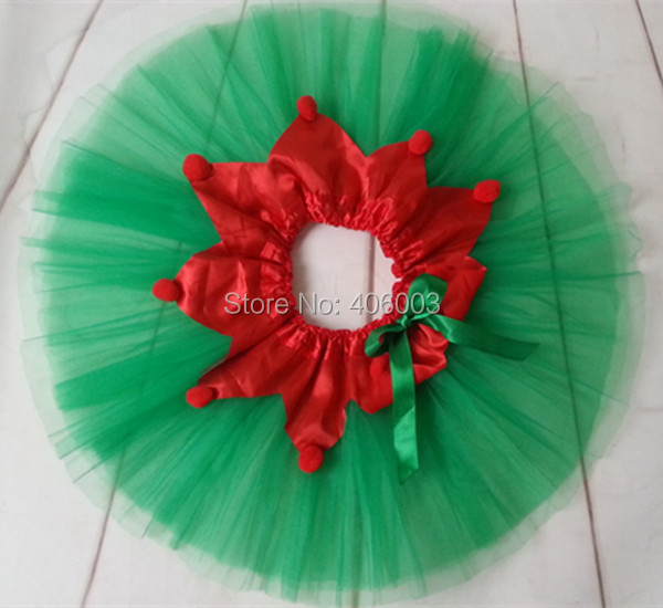 2014 New kids green with red tulle fluffy skirt tutu clothing set baby girl christmas party clothes free shipping