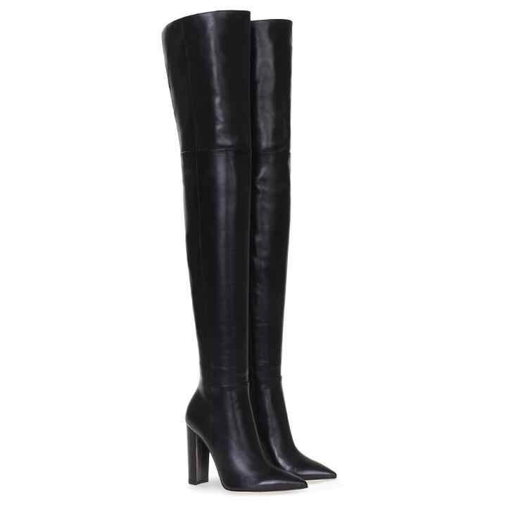 Automne hiver sur le genou bottes Sexy bout pointu hauts talons Chunky chaussures à talons aiguilles cuisse haute Slim femme bottes grande taille 43