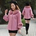 Capa suelta de Primavera e invierno chaqueta corta es de Corea de lana de cachemira abrigo de lana de las mujeres