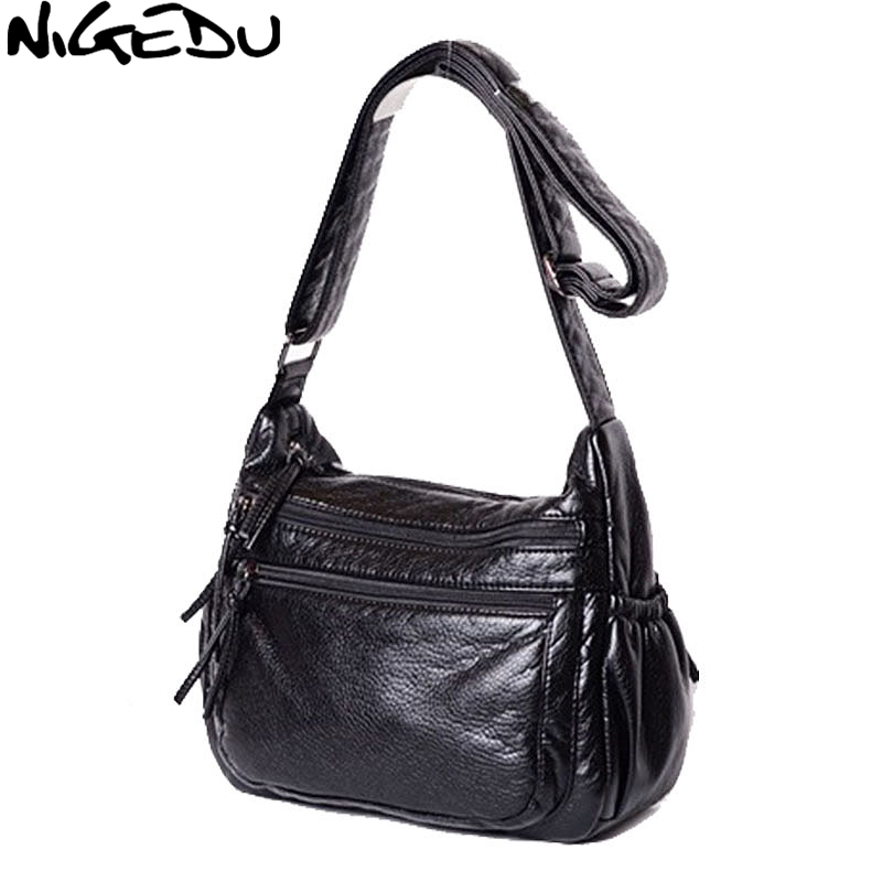 NIGEDU Brand Soft PU Leather Women Crossbody Bag Casual female shoulder Crossbody bag bolsa feminina Sac Mother gifts handbag grey soft plain pu crossbody bag