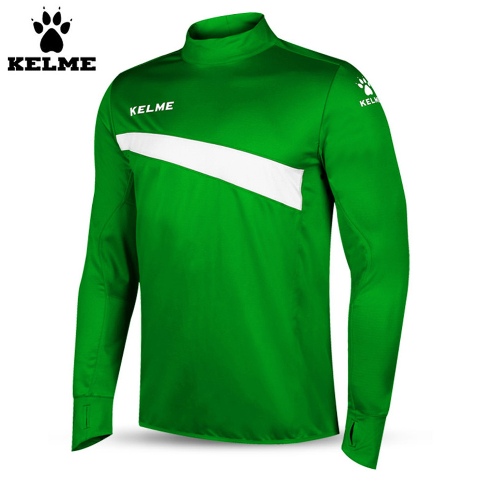 Kelme K15Z304 Men Soccer Jerseys Polyester Stand Collar Sharkskin Training Long-sleeved Pullover Green цена