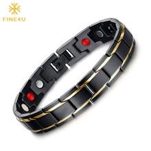 FINE4U B068 Black Men's 316L Stainless Steel Health Bracelets & Bangles Magnetic Healthy Bracelet Health Care Jewelry