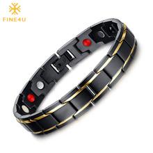 FINE4U B068 czarne męskie bransoletki zdrowotne i bransolety ze stali nierdzewnej 316L magnetyczna zdrowa bransoletka biżuteria opieki zdrowotnej tanie tanio Hologram bransoletki Mężczyźni STAINLESS STEEL Metal Link łańcucha GEOMETRIC Fitness tracker Na co dzień sportowy