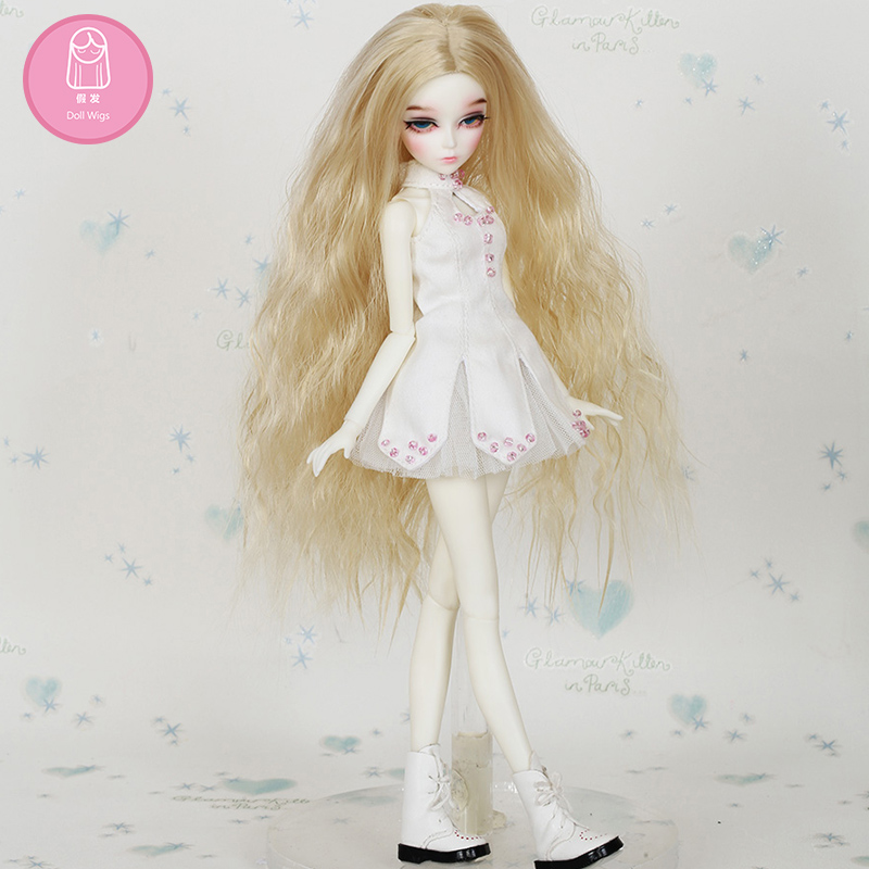 Wig For Doll BJD Free Shipping Size 5-6 Inch 1/4  High-temperature  Curly Wig ChicLine Chloe Girl Doll BJD Lovely Wig In Beauty