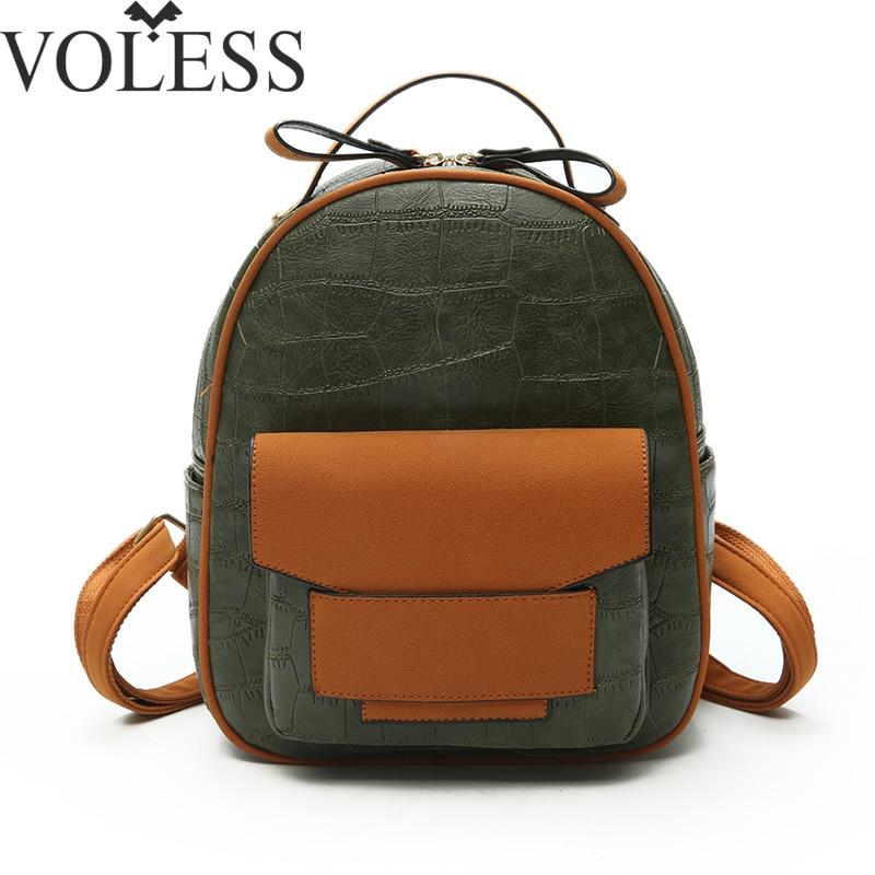 VOLESS 2018 Fashion Women Backpack High Quality PU Leather Backpack Patchwork School Backpacks teenage girls Travel Back pack