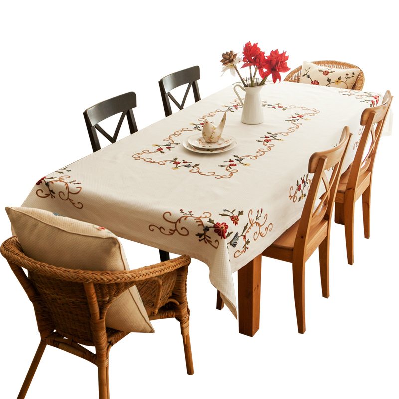 Tablecloth cloth linen coffee table embroidery small fresh table pad cover cloth garden  ...