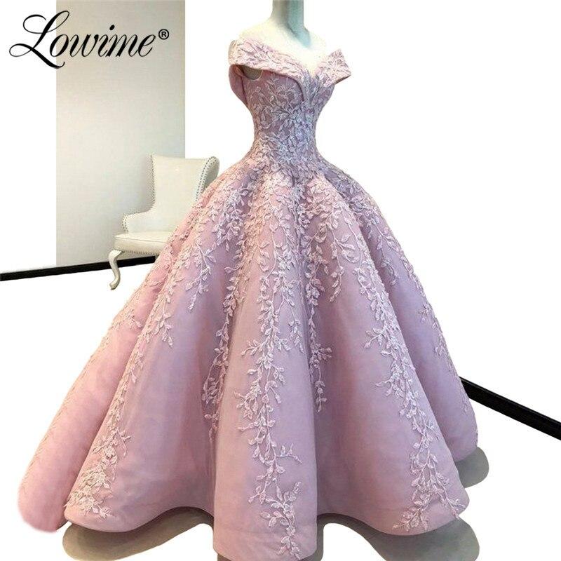 Rose Broderie Off Épaule robes De soirée 2019 Ruché fait sur mesure Robe De bal Pour Les Mariages Robe De Soirée Islamique Dubai Caftan