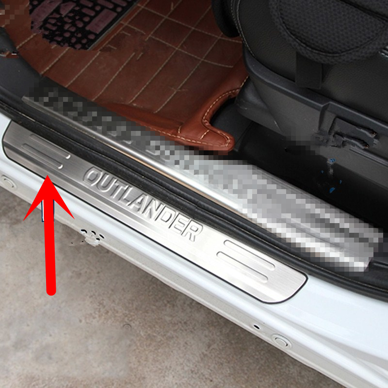 Stainless steel door sill strip for 2009-17 MITSUBISHI OUTLANDER Threshold trim car styling welcome pedal Scuff plate cover film qhcp stainless steel auto door sill strip scuff plate welcome pedal trim protector car styling for lexus nx200 300 300h 200t