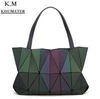 KISUMATER 2018 Women Diamond Geometry Totes matt Color Mirror Saser Plain Folding Bags Luminous bag Free Shipping baobao bag