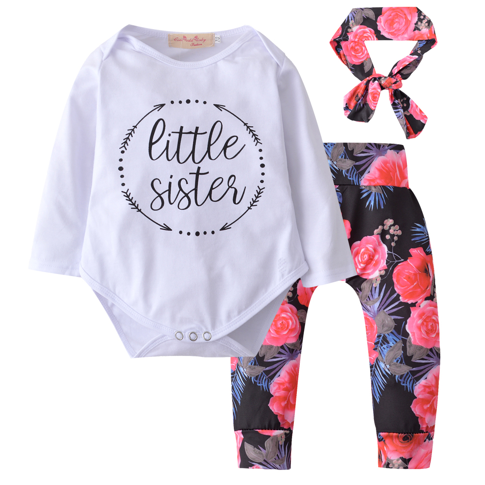 Newborn Baby Girls Clothing 2018 Toddler Baby Girl Tops bodysuit romper+Flower Pants +Bow Headband 3Pcs Clothes Outfits Set футболка ea7 ea7 ea002emuei37