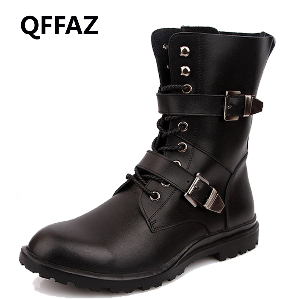 QFFAZ Army Boots Men High Military Combat Boots Metal Buckle Punk Mid Calf Male Motorcycle Boots