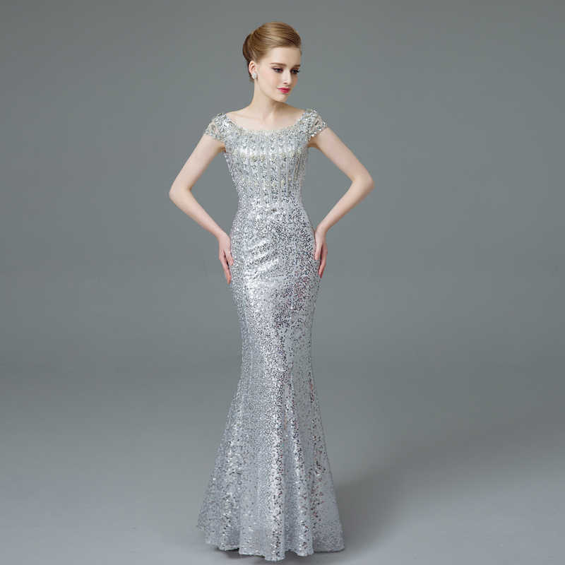 2017 New Sexy Summer Dress Women Diamond Sequins Silver Long Party Dresses  Bodycon Backless Fishtail Maxi c15bcd11350f
