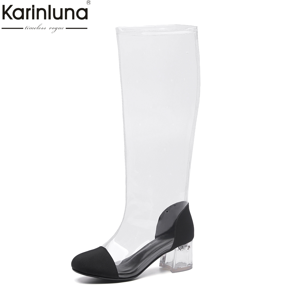 KarinLuna 2018 Brand Design Big Size 34-42 Top Quality Customized Summer Boots Fashion Square Heels PVC womens Shoes