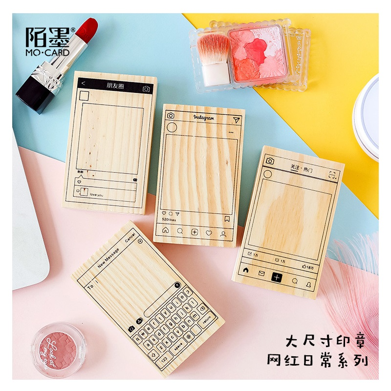 Creative Wechat INS Pattern Wooden Rubber Stamp Set For DIY Scrapbooking Craft Wax Seal Stamp Kawaii Stationery