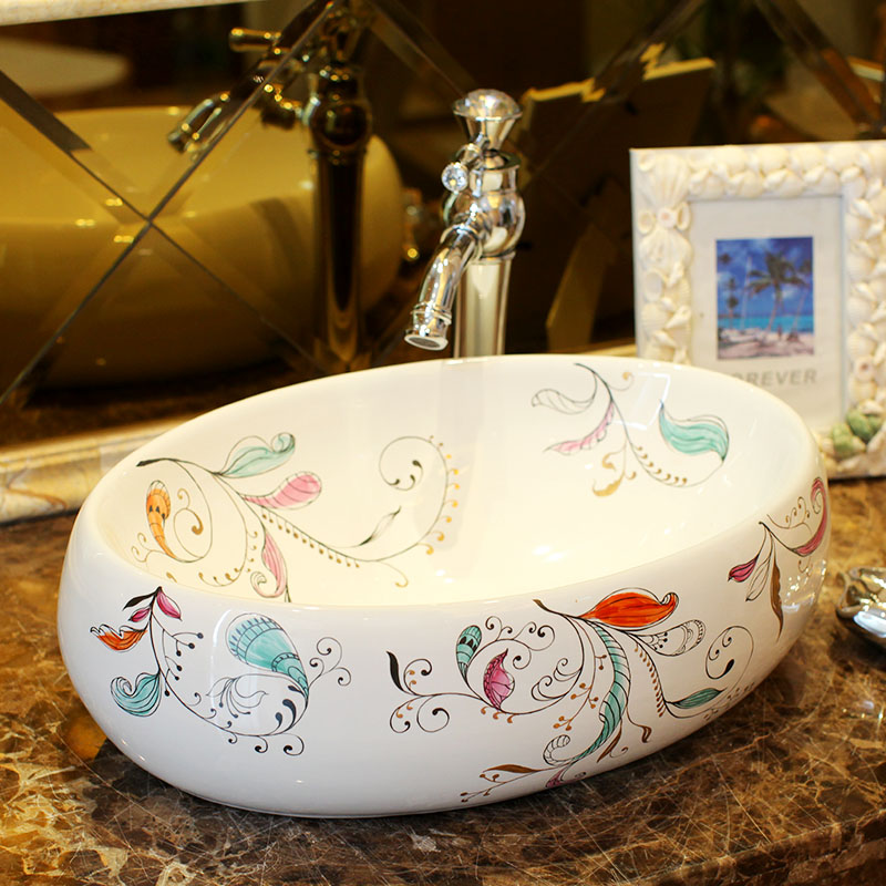 Oval Lavabo Ceramic Counter Top Wash Basin Cloakroom Hand Painted Vessel Sink Bathroom Sinks In From Home
