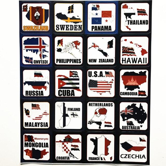 Us 39 100 Länder Flagge Karte Schweden Thailand Island Russland Usa Finnland Niederlande Australien Frankreich Malaysia Doodle Aufkleber Decals