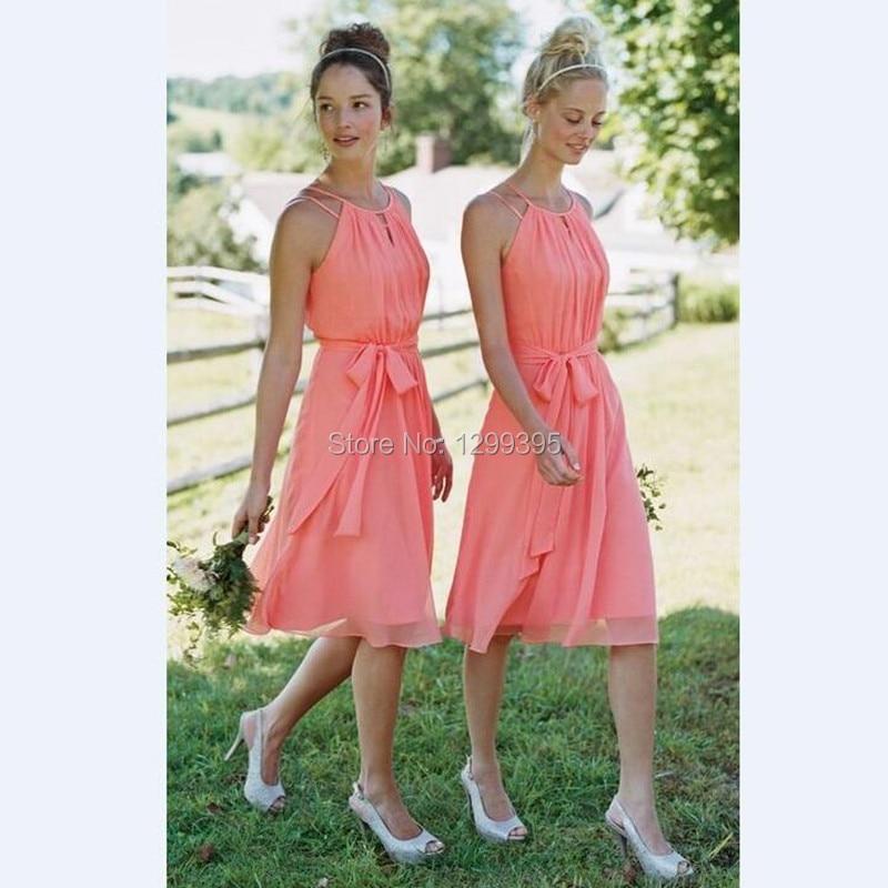 Elegant Summer Beach Wedding Party Dresses Short Coral Dress Knee ...