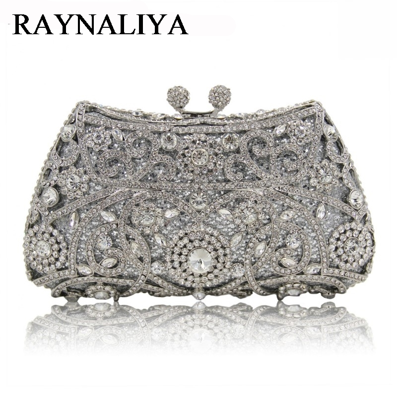 Fashion Evening Bags Rhinestones Clutch Handbags Crystal Wedding Party Bag Drak Gold Silver Color Purse Women ZH-A0272 luxury crystal clutch handbag women evening bag wedding party purses banquet