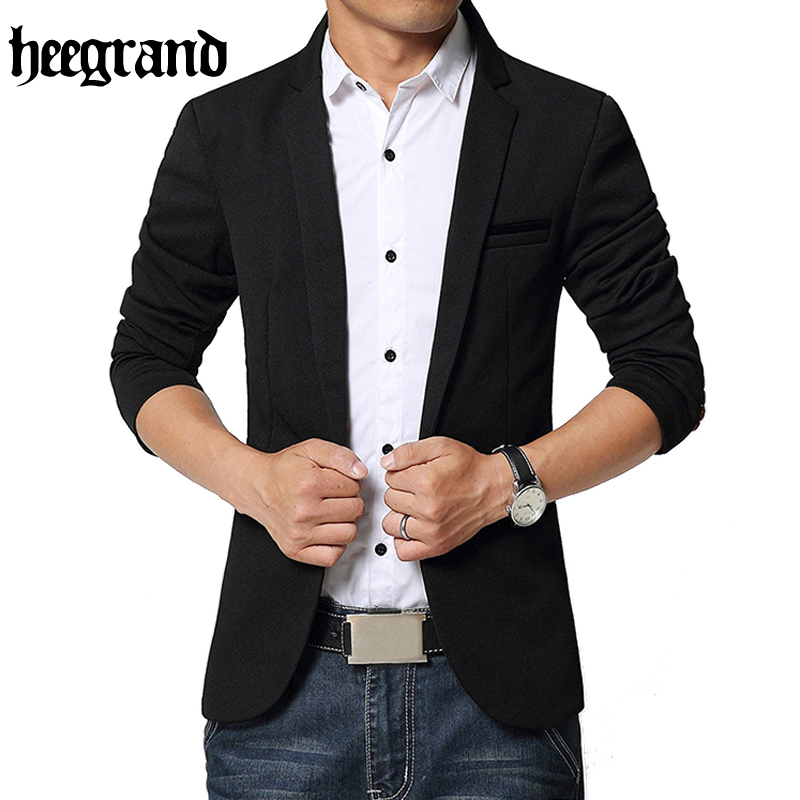 HEE GRAND 2017 Spring Europe Style Casual Blazer Men Single Button Solid Men Blazer MWX402