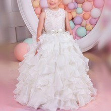 Fashion Girls Dress Wedding Flower Girls Party Dress baby Kid Cake Dress Communion Lace Long Gown Dresses For Kid Bridesmaid