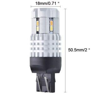 2 x T20 7443 W21/5 Вт 1157 BAY15D 3157 переключатель заднего хода, автомобильная светодиодная лампа поворотника, Белый/янтарный двойной цвет, дневные ходо...