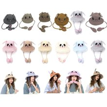 Toy Hat Pinch Long Ears Moving Plush Rabbit Funny Airbag Cap Kids Adults