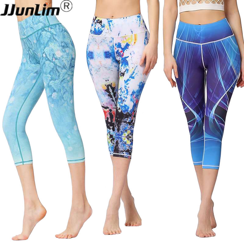 2018 Women Stretch Yoga Pant Printed Fitness Leggings High Waist Sport Leggings Female Yoga Running cropped pants Workout Pants