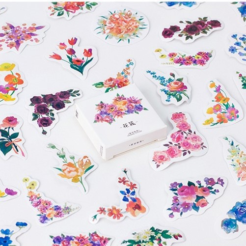 45 Creative Flowers Decorative Diy Diary Stickers Post it Kawaii Planner Scrapbooking Sticky Stationery Escolar School Supplies spring and fall leaves shape pvc environmental stickers decorative diy scrapbooking keyboard personal diary stationery stickers