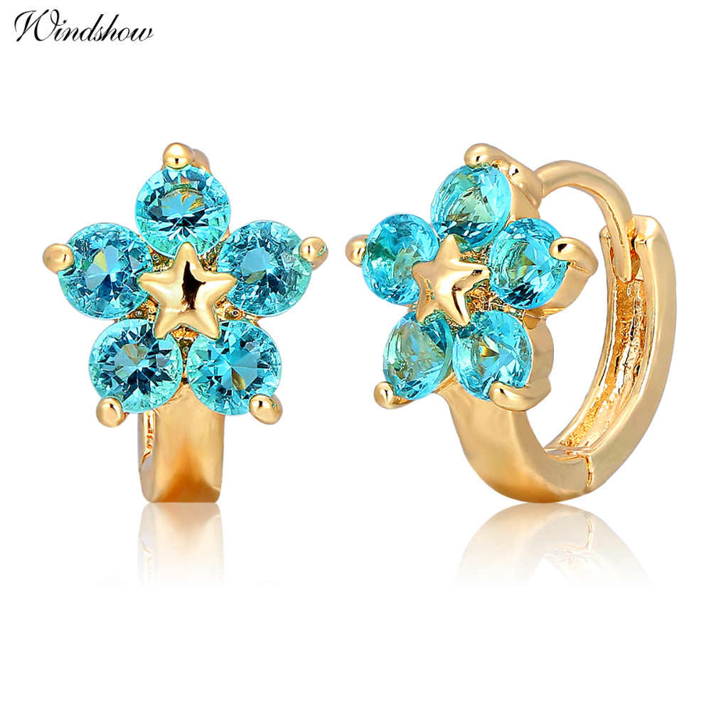 dd22ed7800a12 Gold Color Five Round Blue Crystals Flower Circles Loops Small ...