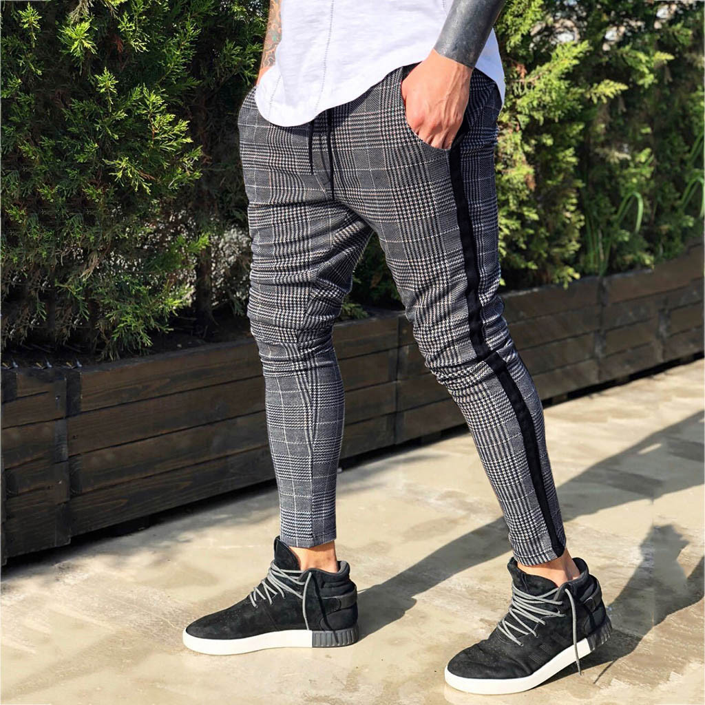 Pants Men's Long Casual Sport Plaid Pant Slim Fit Plaid Trousers Running Joggers Hip Hop High Street Straight Trouser Fashion