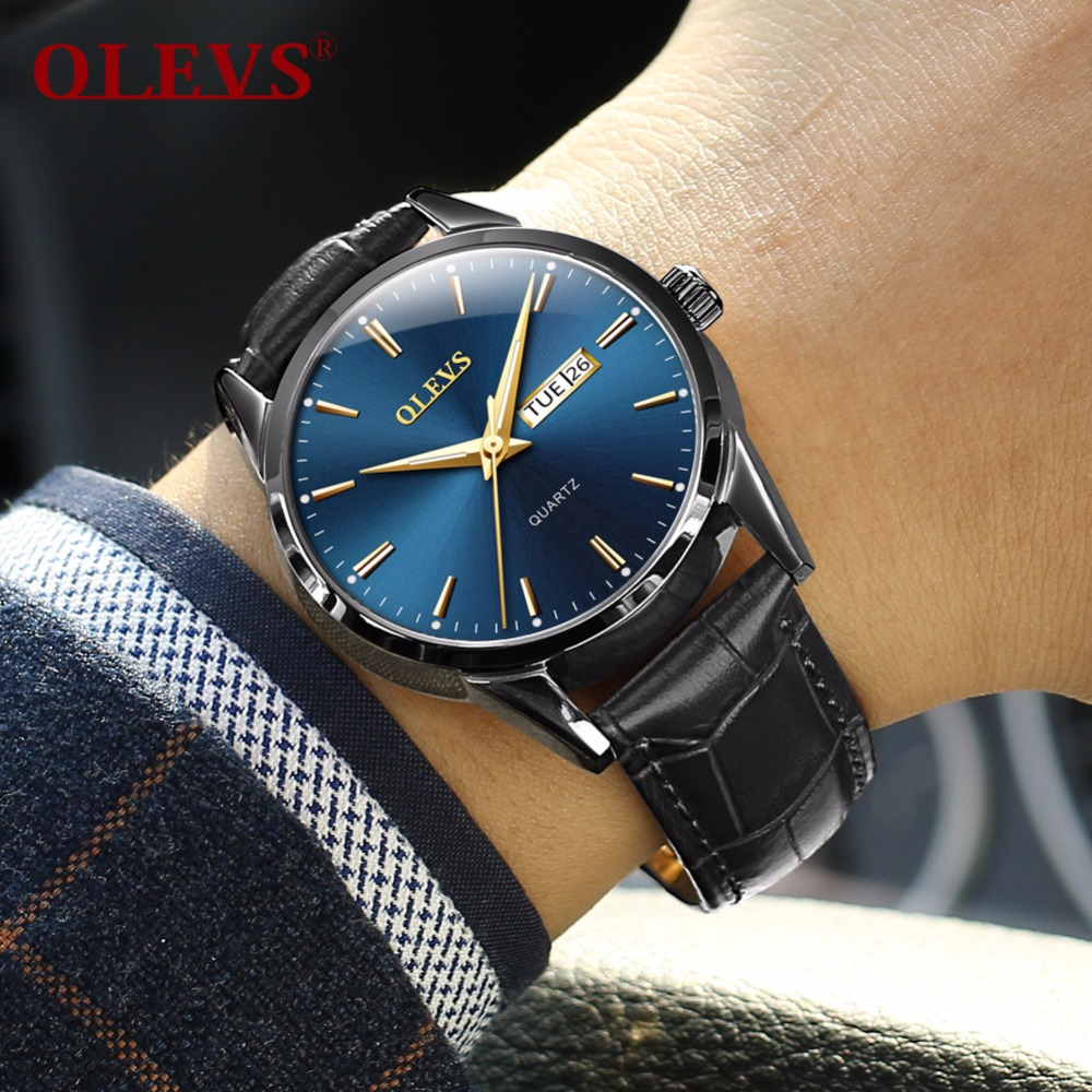 Men Watch Leather Belt Business relogio masculino men's watches top brand luxury OLEVS dropshipping Hot sale Couple watch woman