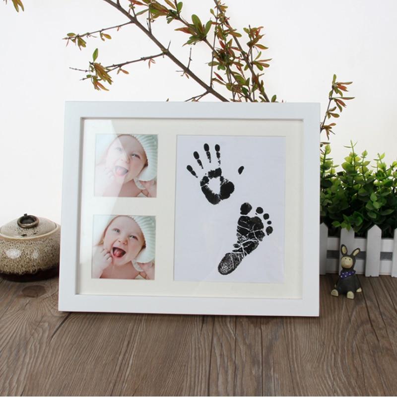 4-farbe Nette Baby Wachstum Memorial Foto Rahmen DIY Inkpad Handabdruck Fußabdruck Ungiftig Weiche Sicher Ton Zeremonie Beste geschenke