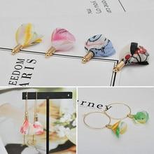 DIY earrings, beautiful, fresh, multicolor chiffon flower pendant, home made earrings, hair accessories