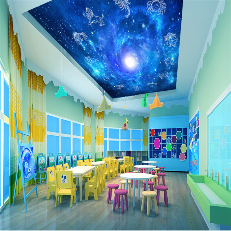 3D Ceiling Murals Custom Starry Sky Photo Wallpaper for Kids' Room Backdrop Walls Papers Twelve Constellations Living Room Mural custom 3d ceiling wallpaper beautiful sky maple murals for the living room bedroom ceiling wall waterproof wallpaper