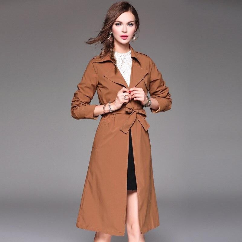 vent Light Nylon Tranchée Brown Long Ceinturé Manteau Femmes Hiver Casaco Automne Full Feminino Les Près Pour Et D'hiver Coupe manches kXiTOPuZ