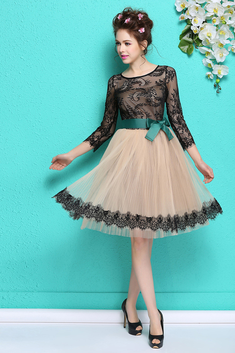 Exelent Black Lace Party Dresses Image Collection - All Wedding ...