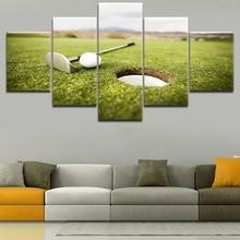 Modern Home Decor Living Room Or Bedroom Wall Art Canvas Print 5 Panel Brushwood Landscape Pictures Frame Sport Golf Ball Poster