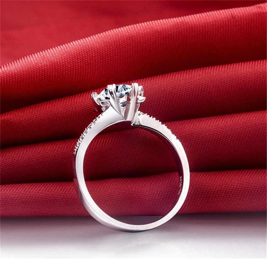 Test positif 1Ct rond coupe Moissanite anneau flocon de neige Micro-pavé solide 925 bague en argent Sterling couleur or blanc anneau