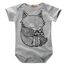 Unique Toddler Infant Newborn Baby Boys Girls Gray Fox Print Romper Jumpsuit Sunsuit Outfits