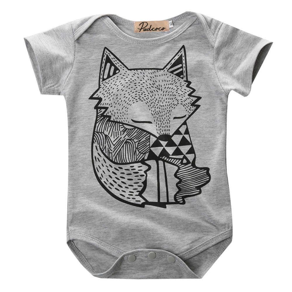 Độc đáo Toddler Trẻ Sơ Sinh Bé Trai Cô Gái Màu Xám Fox In Romper Jumpsuit Sunsuit Trang Phục