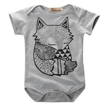 Única Infante bebé recién nacido niños niñas gris impresa con zorros mono traje de baño trajes