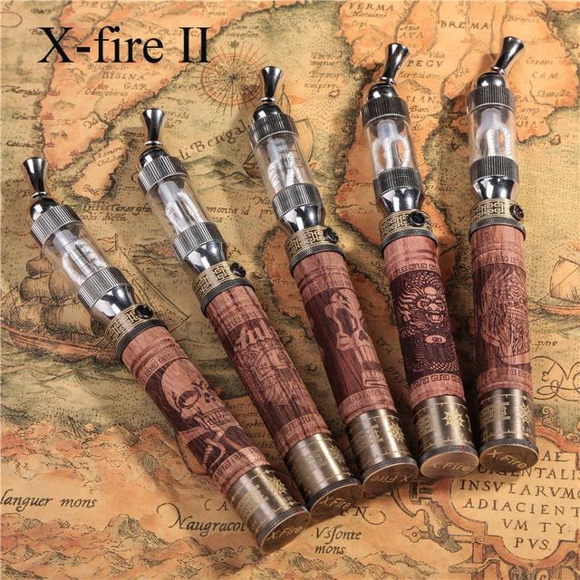 1 Unidades E Incendios X Incendio Cigarrillo Electrónico Kit V2 Vaporizador Voltaje Variable Batería Giro De Madera Efire x-fuego con Caja De Madera